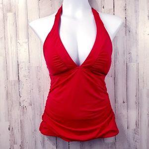 Athleta Womens Tankini S Red Swim Suit Halter